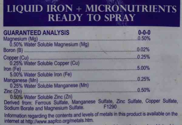Ingredient list for Bonide Liquid Iron