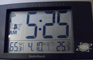 Outdoor thermometer shows a hard freeze of 25 degrees.
