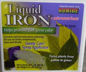 Label of Bonide Liquid Iron and micronutrients.