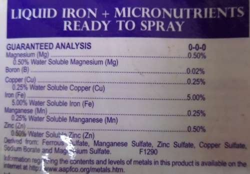Ingredient list from the Bonide Liquid Iron bottle.